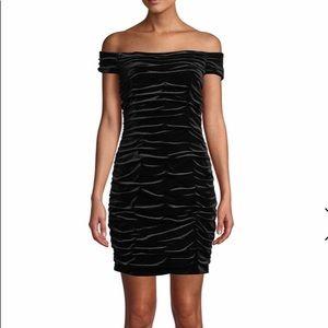 NEW Off-the-Shoulder Shirred Velvet Mini Dress 4